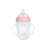 妈咪雅有柄自动广口硅胶玻璃奶瓶(250ml)