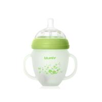 妈咪雅有柄自动广口硅胶玻璃奶瓶(180ml)