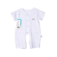 纯棉小竹条短袖开裆哈衣(蓝色)-59