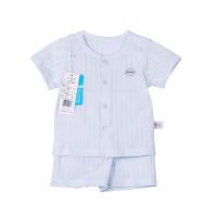 纯棉小竹条圆领全开短袖套(蓝色)-66