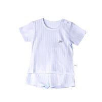 纯棉小竹条圆领肩开短袖套(蓝色)-80