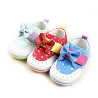 笨牛哈里蝴蝶结扣带学步鞋(浅绿/红色/蓝色)
